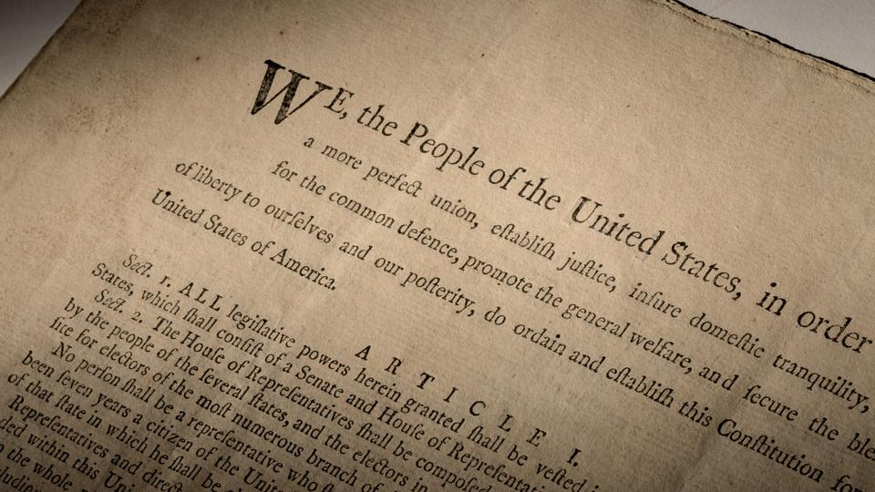 An extremely rare official first-edition printed copy of the US Constitution is seen in this handout image provided by Sotheby's.