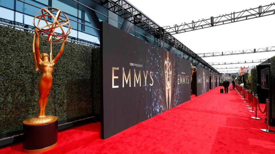 A general view shows the red carpet ahead of the 73rd Primetime Emmy Awards in Los Angeles, US, on September 19, 2021.