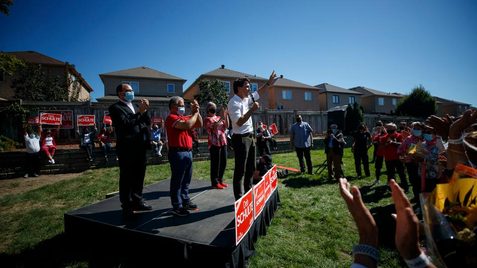 Liberal Party Leader Justin Trudeau speaks to supporters during a campaign stop on September 19, 2021 in Maple, Canada.