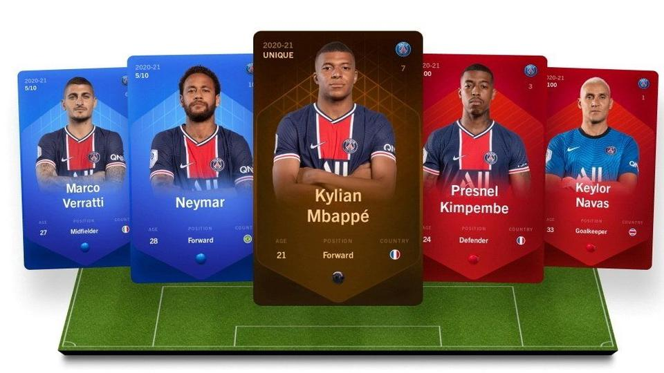 Digital collectible cards representing football players are seen in this handout illustration image from the online fantasy football game Sorare obtained by Reuters on September 20, 2021.