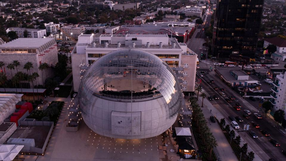 An aerial view shows the new Academy Museum of Motion Pictures designed by Italian architect Renzo Piano, on September 21, 2021 in Los Angeles, California.