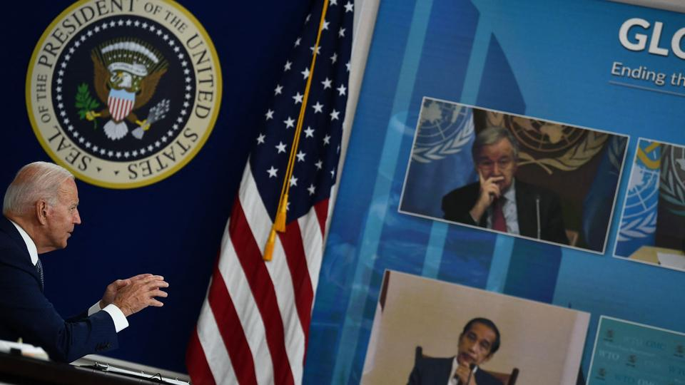 US President Joe Biden convenes a virtual Covid-19 Summit on the sidelines of the UN General Assembly, on September 22, 2021, in the South Court Auditorium of the White House in Washington, DC.