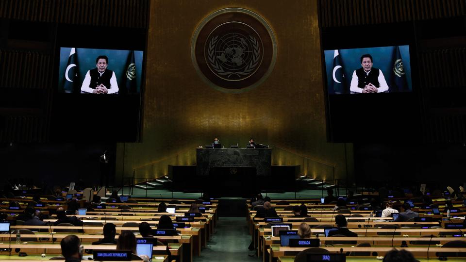 Prime Minister from the Islamic Republic of Pakistan Imran Khan addresses via prerecorded video thethe General Debate of the 76th session of the United Nations General Assembly at UN headquarters in New York  on September 24, 2021.
