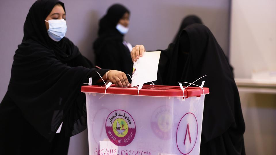 Voters cast their ballot in the Gulf Arab state's first legislative elections for two-thirds of the advisory Shura Council, in Doha, Qatar on October 2, 2021.