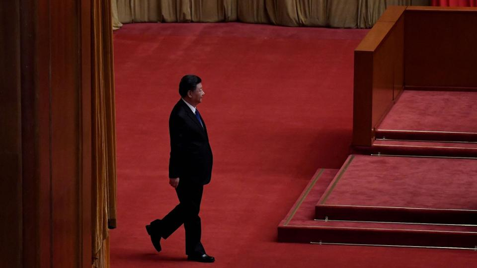 Chinese President Xi Jinping attends the commemoration of the 110th anniversary of the Xinhai Revolution at the Great Hall of the People in Beijing on October 9, 2021.
