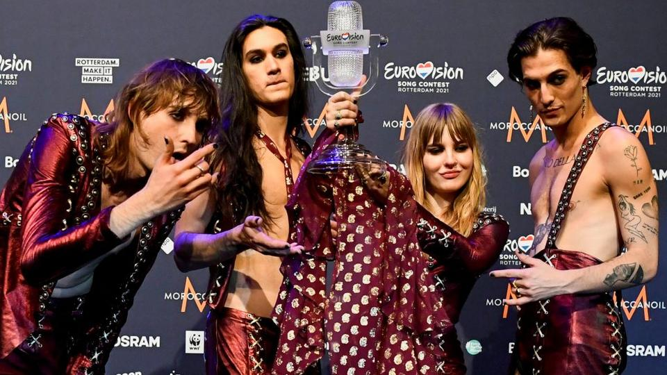 Maneskin of Italy pose with the trophy following a news conference after winning the 2021 Eurovision Song Contest, in Rotterdam, Netherlands on May 23, 2021.