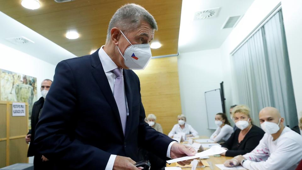 Czech Prime Minister and leader of ANO party, Andrej Babis, looks on ahead of casting his vote in parliamentary elections in Lovosice, Czech Republic October 8, 2021.
