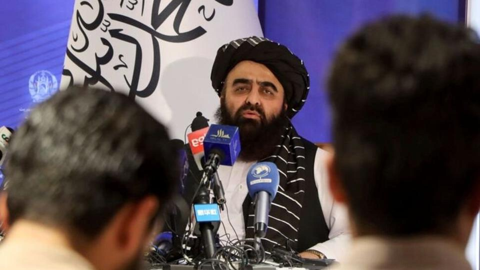 Taliban acting Foreign Minister Amir Khan Muttaqi speaks during a news conference in Kabul Afghanistan on September 14, 2021.