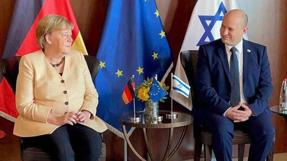 Germany's outgoing chancellor Angela Merkel meets Israeli Prime Minister Naftali Bennett in Tel Aviv, Israel on September 10, 2021.