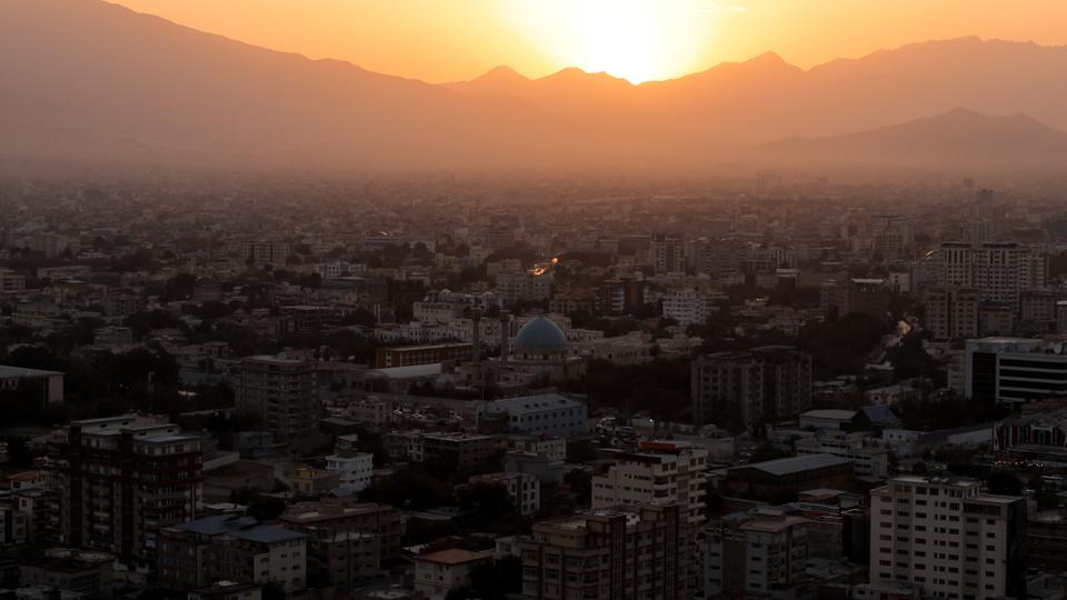 The sun sets over Kabul, Afghanistan on October 7, 2021.