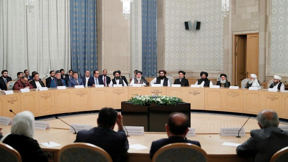 Afghan senior politicians and members of a Taliban delegation attend peace talks in Moscow, Russia on May 30, 2019.