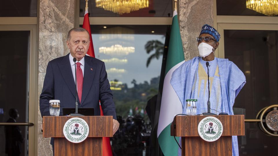 Turkey's President Recep Tayyip Erdogan and Nigerian counterpart Muhammadu Buhari speak at press conference in Abuja, Nigeria. October 20, 2021.