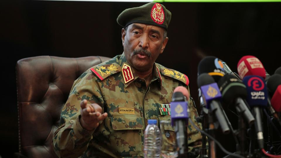 Sudan's head of the military, Gen. Abdel-Fattah Burhan speaks during a press conference at the General Command of the Armed Forces in Khartoum, Sudan, Tuesday, Oct. 26, 2021. (AP Photo/Marwan Ali)