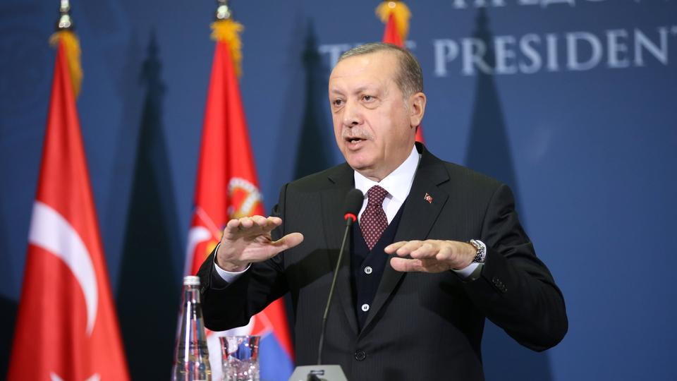 Turkish President Recep Tayyip Erdogan gestures as he speaks during a joint press conference with Serbia's President Aleksandar Vucic (not in the picture) after their meeting in Belgrade, Serbia, October 10, 2017. (Reuters)