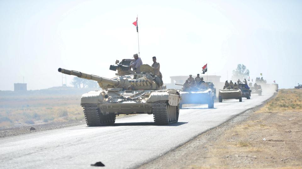 Iraqi army tanks on patrol in northern Iraq.