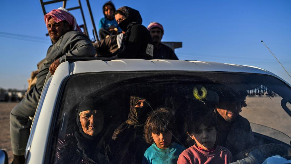 Thousands of Syrians displaced by shelling and clashes against Daesh in Deir Ezzor arrived at a makeshift camp south of Al Hasakah on Wednesday (October 11). (AFP)