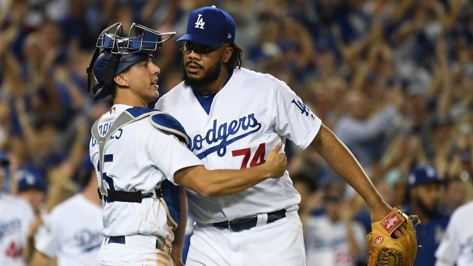 5271cc04e Angeles Dodgers relief pitcher Kenley Jansen (74) celebrates with catcher  Austin Barnes (15
