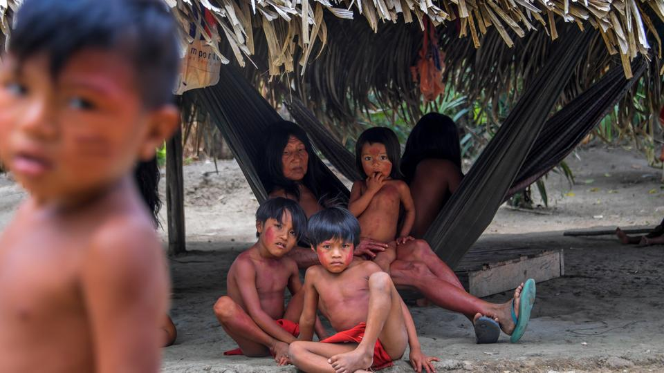 Waiapi tribe members at the Manilha village in the Waiapi indigenous reserve in Amapa state in Brazil on October 14, 2017.