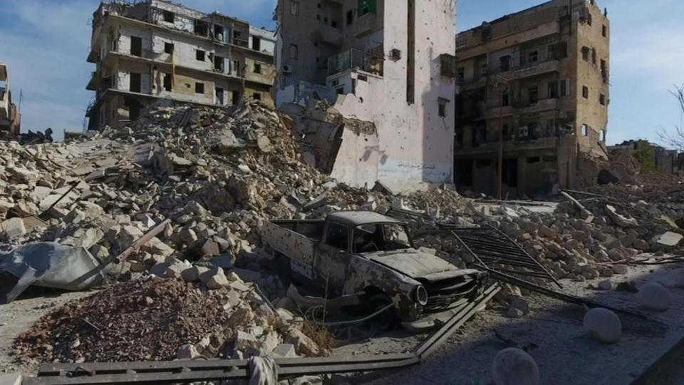 FILE PHOTO: A still image from video taken October 12, 2016 of a general view of the bomb damaged Old City area of Aleppo, Syria.