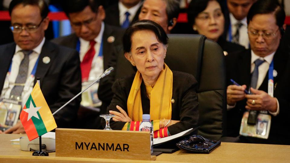 Myanmar's State Councellor and Foreign Minister Aung San Suu Kyi looks on during the 9th ASEAN UN Summit on the sideline of the 31st Association of Southeast Asian Nations (ASEAN) Summit in Manila on November 13, 2017.