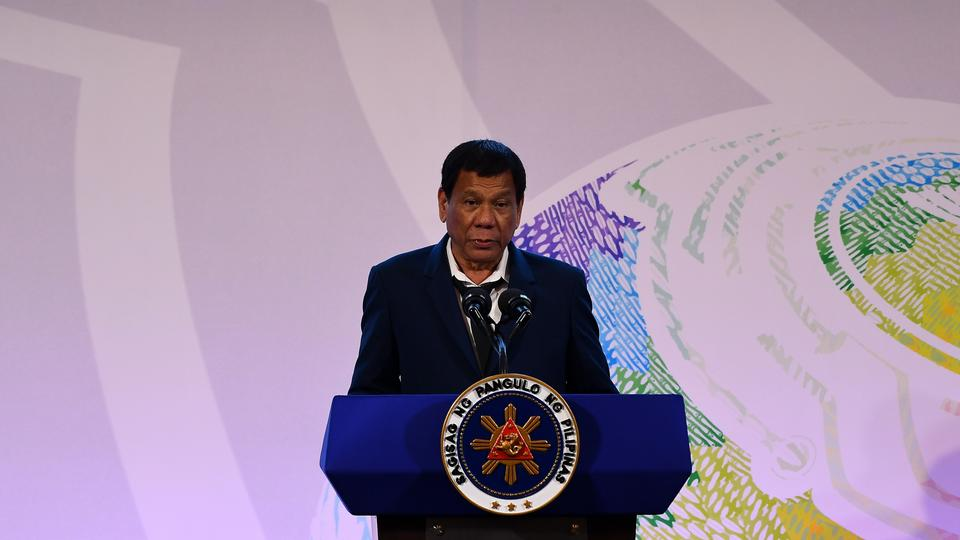 Philippine President Rodrigo Duterte addresses a press conference after the closing ceremony of the 31st Association of Southeast Asian Nations (ASEAN) Summit in Manila on November 14, 2017.