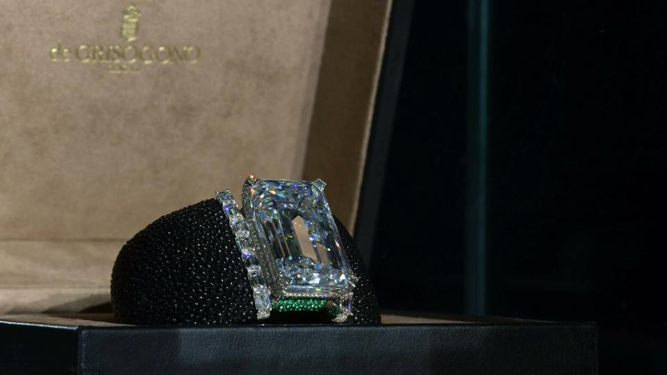 A 163-Carat D Flawless emerald-cut Diamond on display during a press conference in Dubai