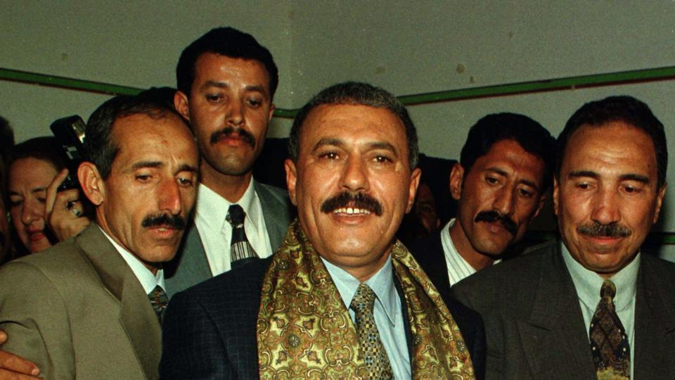 Yemen's President Ali Abdullah Saleh deposits his vote at a polling station in downtown Sanaa on April 27, 1997.
