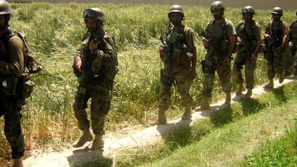 Soldiers of Pakistan Army are on search operation for militants in Pakistan's tribal area of Mir Ali, 25 kilometres (15 miles) east of Miran Shah in North Waziristan along the Afghan border. April 21, 2005.