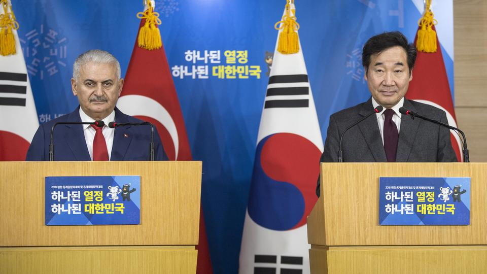 Prime Minister of Turkey, Binali Yildirim (L) and Prime Minister of South Korea, Lee Nak-Yeon (R) hold a joint press conference following their inter-delegation meeting in Seoul, South Korea on December 6, 2017.
