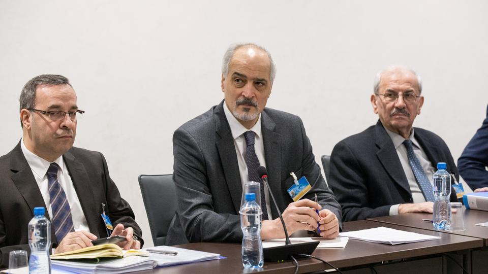 Syrian Ambassador to the United Nations and head of the regime delegation Bashar al Jaafari (C) at the UN-led Syria peace talks in Geneva, Switzerland, November 30, 2017.