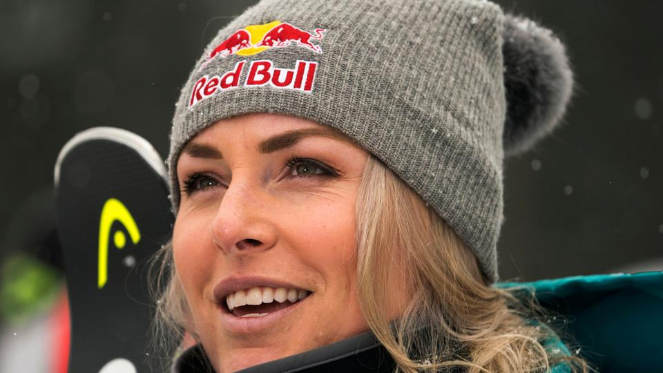 This file photo taken on November 28, 2017 shows Lindsey Vonn of the US talking with reporters after her training for the FIS Ski World Cup Women's Downhill in Lake Louise, Alberta.