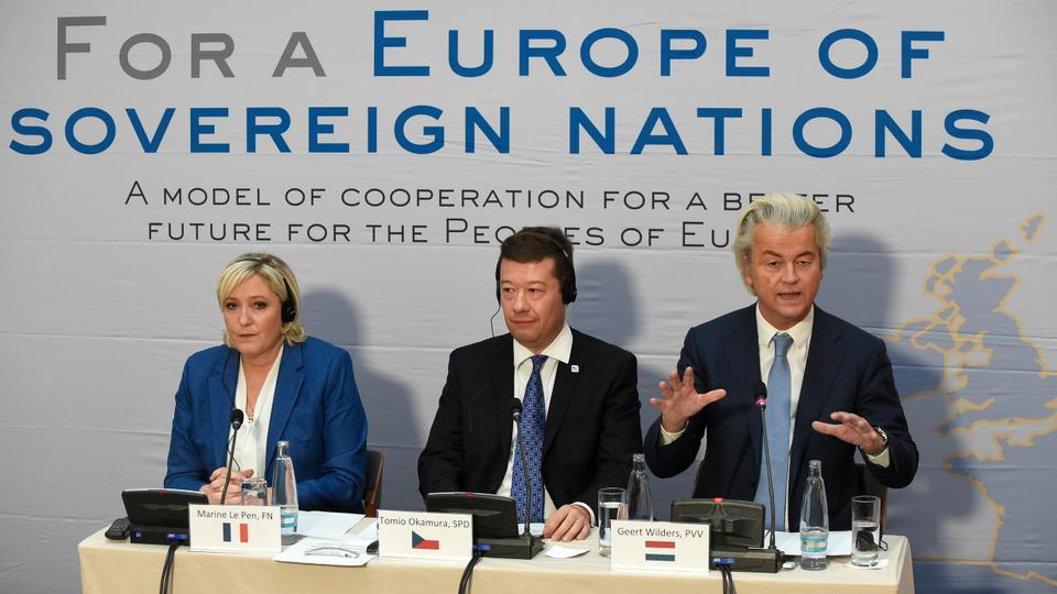 (LtoR) Marine Le Pen, head of French far-right National Front (FN) party, Tomio Okamura, leader of Czech far-right Freedom and Direct Democracy party (SPD) and Dutch far-right politician Geert Wilders of the PVV party (Partij voor de Vrijheid) give a press conference during a conference of the rightwing Europe of Nations and Freedom (ENF) group in the European parliament on December 16, 2017 outside Prague.