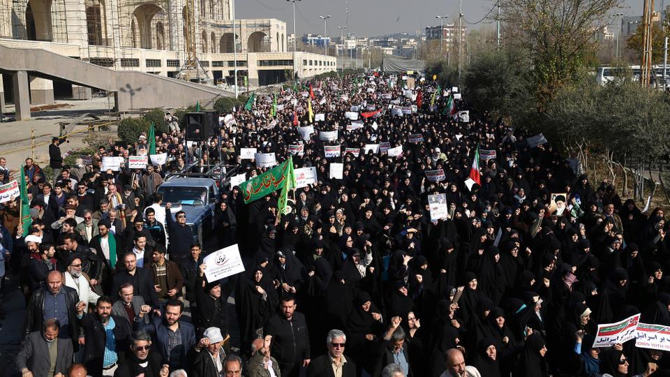 Iranian protesters chant slogans at a rally in Tehran, Iran. December 30, 2017.