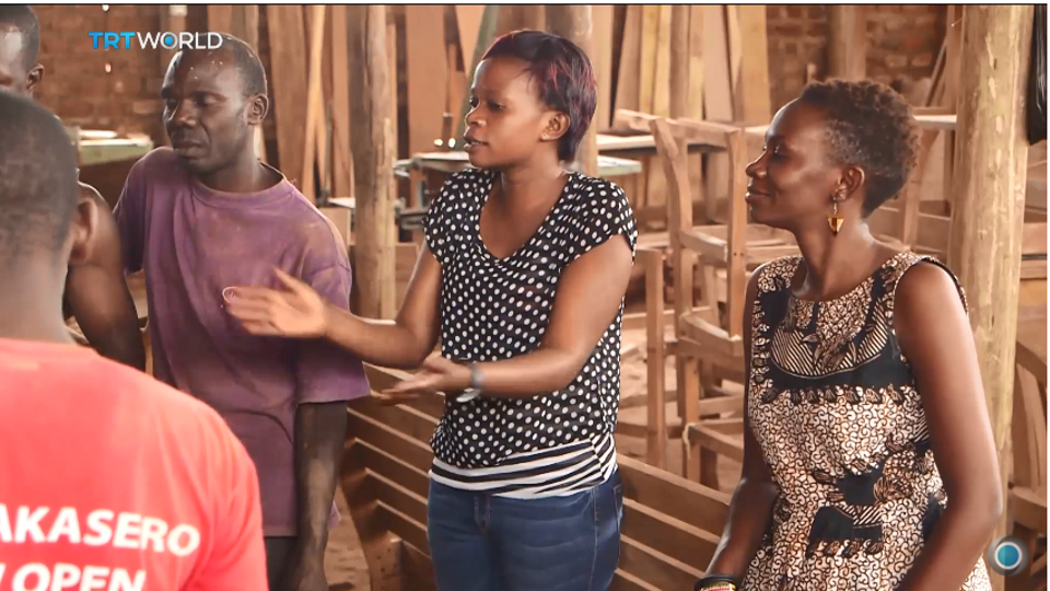 Evelyn Zalwango (R) and her team, Awaka Furniture, in Uganda's capital, Kampala.