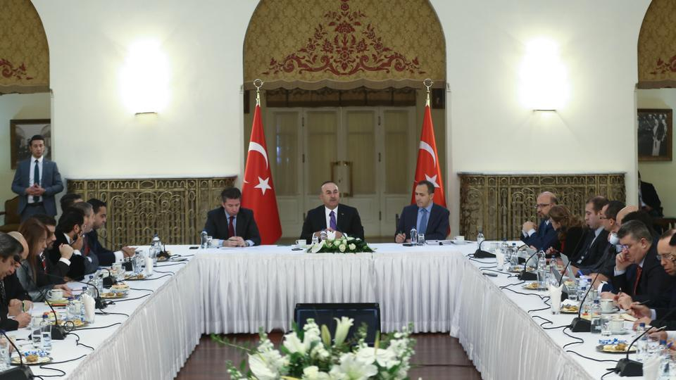 Turkish Foreign Minister Mevlut Cavusoglu delivers a speech during his meeting with Ankara representatives of national press at the Ankara Palas State Guesthouse in Ankara, Turkey on January 3, 2018.
