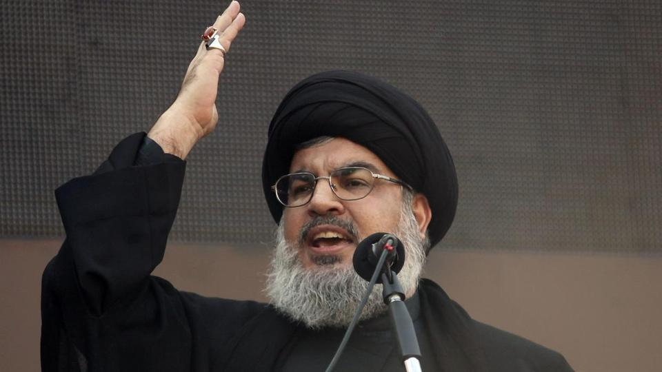 Lebanon's Hezbollah leader Sayyed Hassan Nasrallah addresses his supporters during a religious procession to mark Ashura in Beirut's suburbs November 14, 2013.