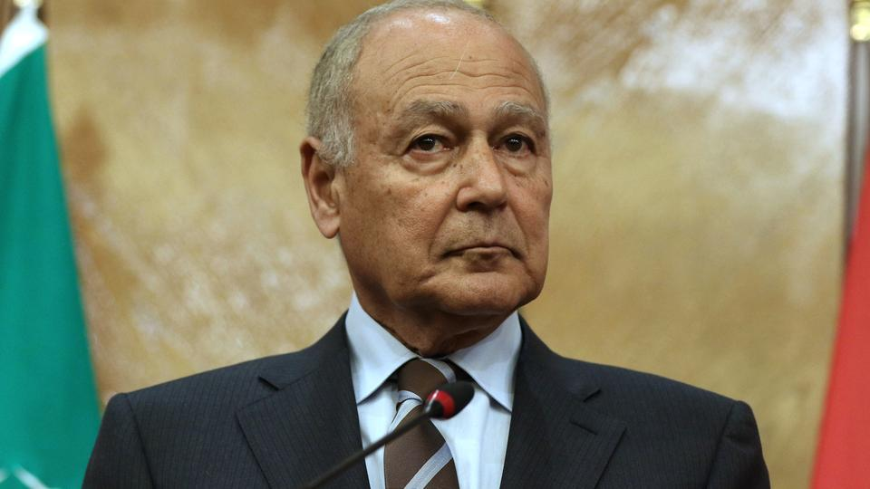 Arab League Secretary-General Ahmed Aboul Gheit looks on during a joint conference with Jordanian Foreign Minister Ayman Safadi in the Jordanian capital Amman on January 6, 2018.