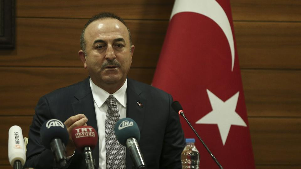 This December 20, 2017 file photo shows Turkish Foreign Minister Mevlut Cavusoglu holding a press conference ahead of the departure for New York at the Ataturk International Airport in Istanbul, Turkey.