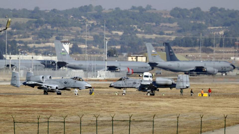 US Air Force A-10 Thunderbolt II fighter jets (foreground) are pictured at Incirlik airbase in the southern city of Adana, Turkey, in this December 11, 2015 file photo.