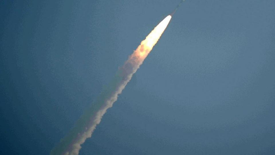 The satellite launches at Satish Dhawan space center in Sriharikota in the state of Andhra Pradesh on January 12, 2018.