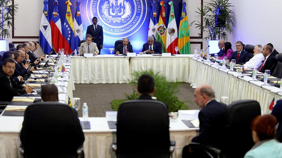 Delegates of President Nicolas Maduro's government and Venezuela's opposition coalition meet for a round of talks, in Santo Domingo, Dominican Republic on January 12, 2018.