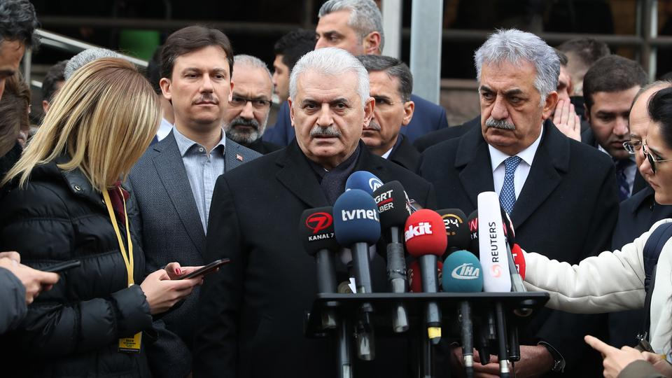 Turkish Prime Minister Binali Yildirim speaks to press after Friday prayer, Ankara, Turkey on January 12, 2018.