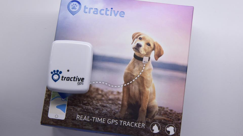 A Tractive GPS pet tracker is seen during CES 2018 in Las Vegas on January 10, 2018. The device offers live tracking, position history and virtual fence functions.