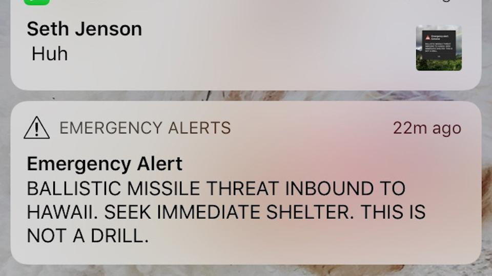 This smartphone screen capture shows a false incoming ballistic missile emergency alert sent from the Hawaii Emergency Management Agency system on Saturday, Jan. 13, 2018.