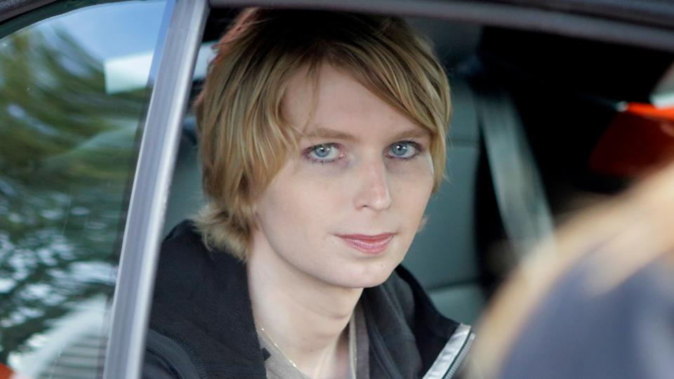 Chelsea Manning is seated in the back seat of a vehicle as she departs The Nantucket Project's annual gathering, in Nantucket, Mass.