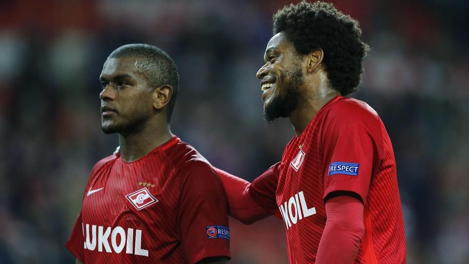 Spartak's Luiz Adriano, right smiles besides team mate Fernando after the Champions League soccer match between Spartak Moscow and Liverpool in Moscow, Russia, Tuesday on  September 26, 2017
