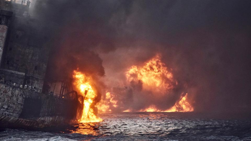 Iranian oil tanker Sanchi is seen engulfed in fire in the East China Sea on January 13, 2018.
