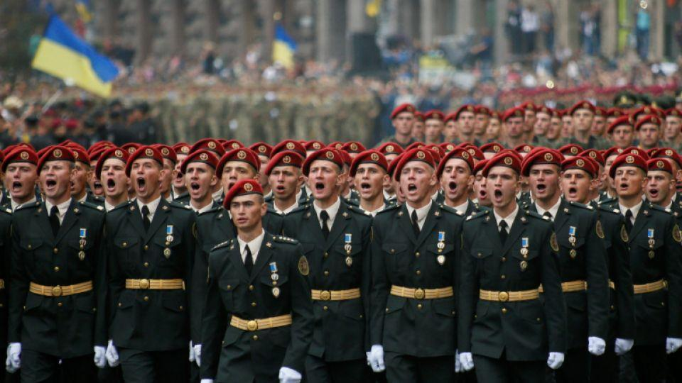 Servicemen march during Ukraine's Independence Day military parade in central Kiev, Ukraine, August 24, 2016