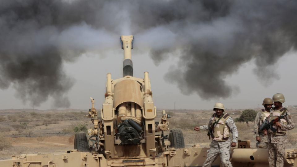 Artillery is flung from an American made Howitzer over the Saudi Arabian border into Yemen.
