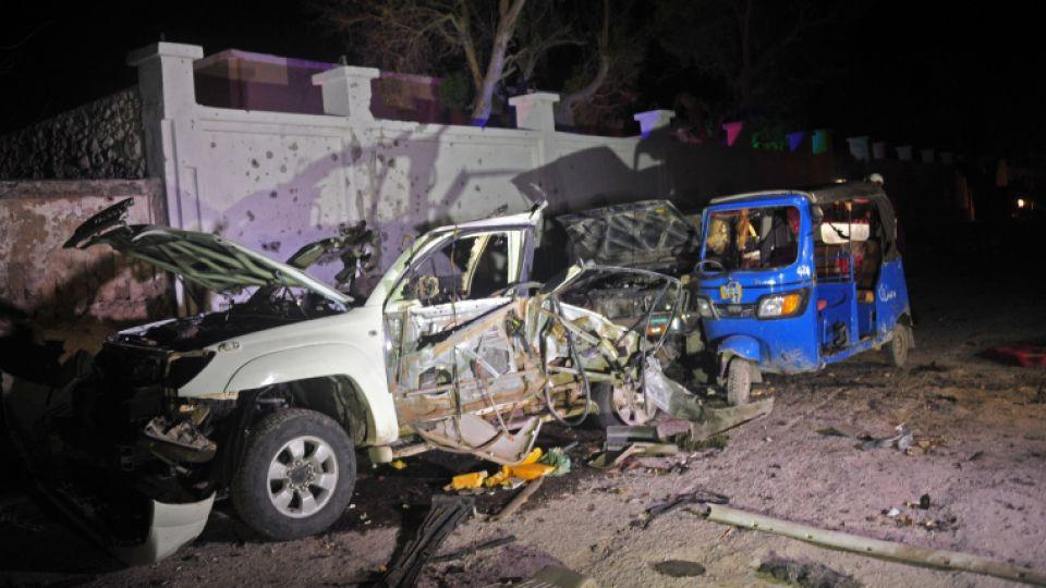 The wreckage of a car bomb outside a beach restaurant after an attack by Al-Shebab in the Somali capital Mogadishu on August 25.